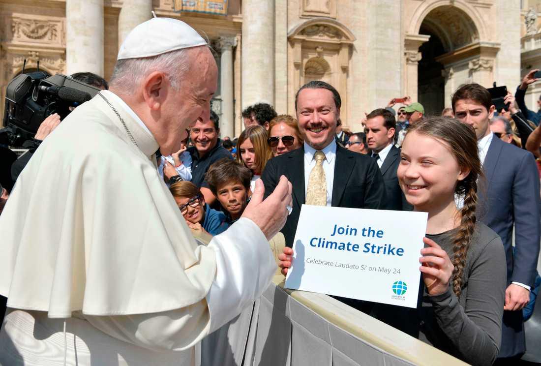 Påve Francikus fick också en kort session med klimatstjärnan.