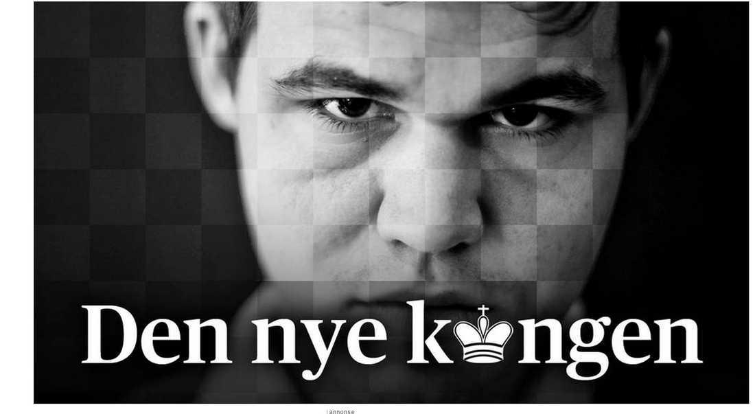 Detta är Aftenpostens hemsida efter att Carlsen blivit världsmästare.