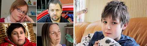 insjuknade av svininfluensavaccinet Marie Almquist, Niklas Berglund, Kevin Ljunggren, Berit Stridsberg och André Lennartsson har alla blivit sjuka av vaccinet som skulle skydda dem från sjukdom.