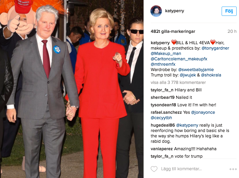 Katy Perry, med agent, klädde ut sig till Bill och Hillary Clinton.