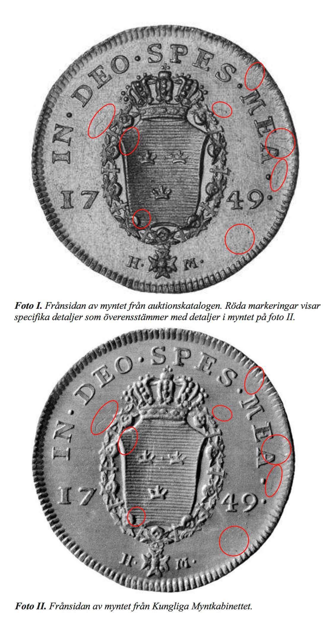 Fredrik I-dukat från 1749 värderad till 65 000 kronor.
