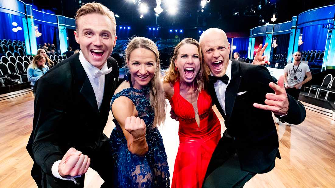 """Calle Sterner och Kristin Kaspersen möter Magdalena Forsberg och Tobias Karlsson i finalen av """"Let's dance""""."""