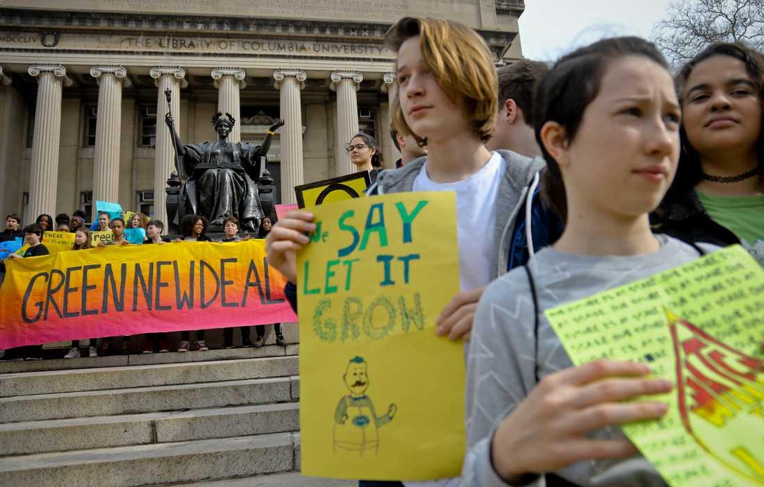 Hundratusentals skolungdomar över hela världen strejkade på fredagen för klimatet. Här i New York, USA.
