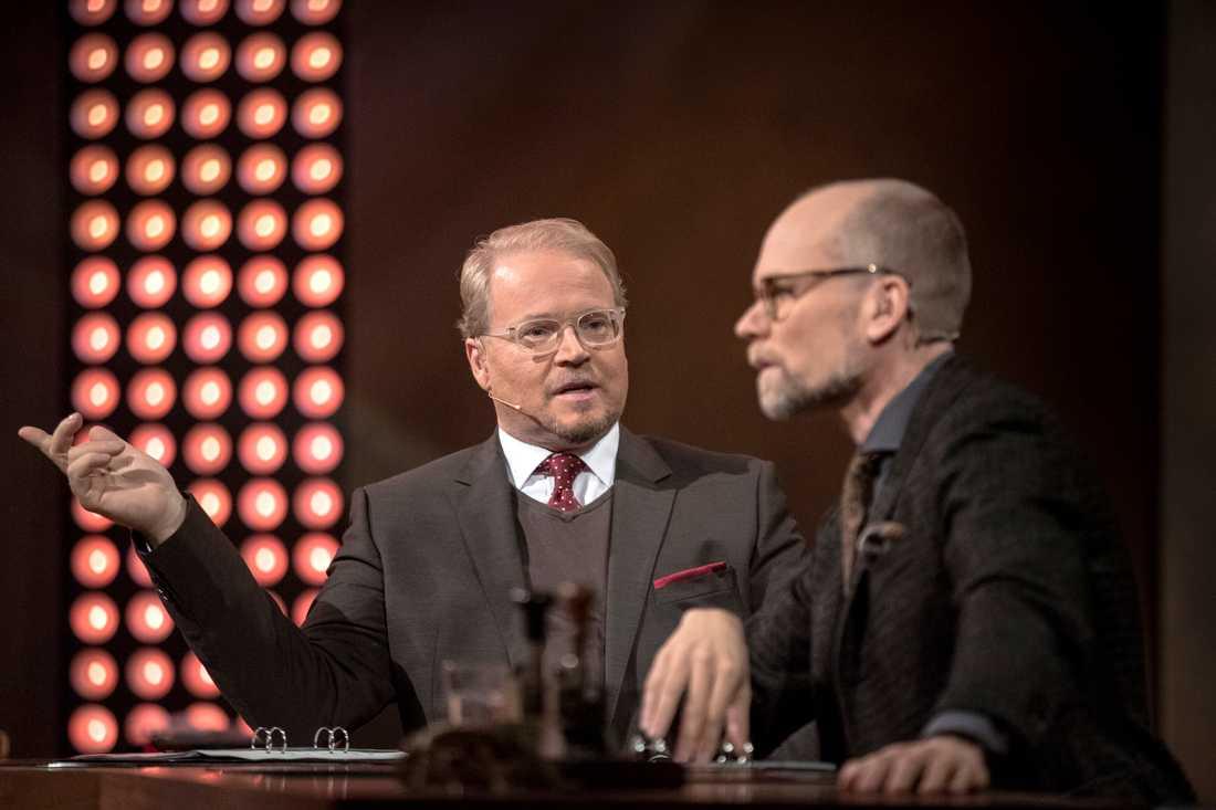 Fredrik Lindström och Kristian Luuk spelar in nya avsnitt tillsammans med Louise Epstein och Thomas Nordegren. Arkivbild.