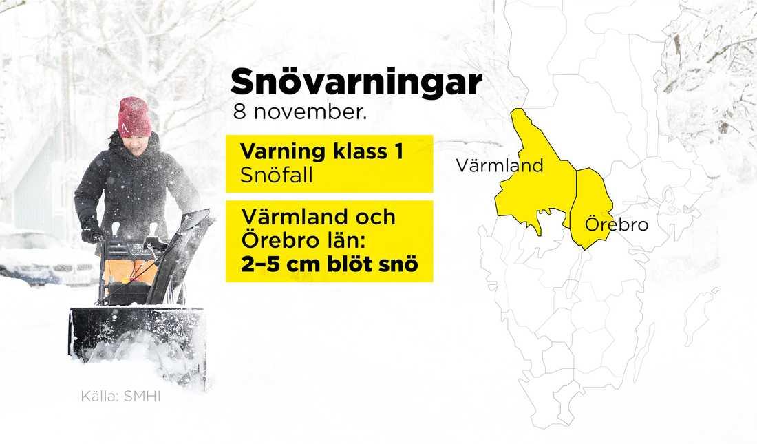 En klass 1-varning för snöfall i Värmland och Örebro län har utfärdats.