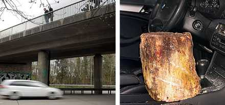 Kvinnan dog efter att en stubbe kastades från bron och for in genom bilens ruta.