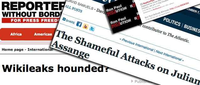 Röster höjs Reportrar utan gränser och många journalister runtom i världen, höjer sina röster i försvar för Julian Assanges och Wikileaks arbete.
