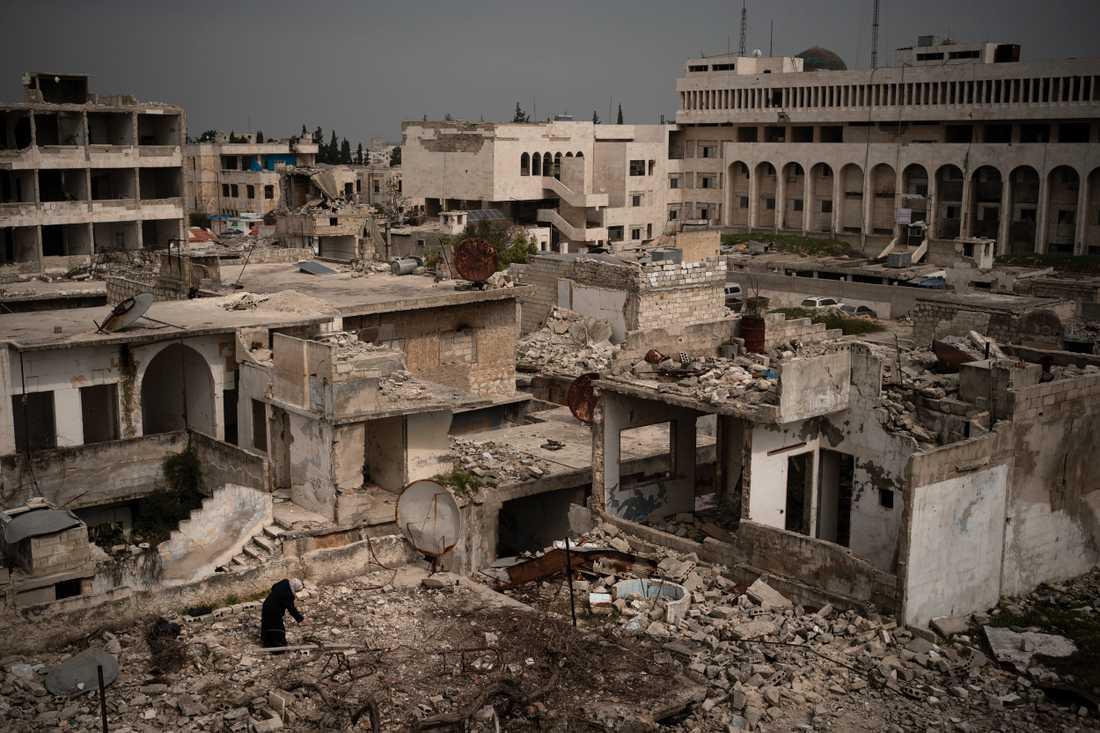 Staden Idlib är ett av de sista urbana områdena i Syrien som fortfarande kontrolleras av oppositionen. Arkivbild från den 12 mars 2020.