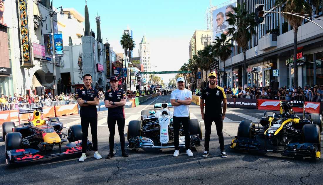 Alex Albon, Max Verstappen, Valtteri Bottas och Daniel Ricciardo. Alla är förare i F1 2020.