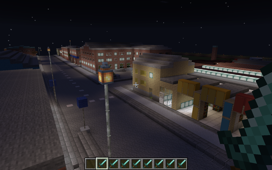 Norra Grängesbergsgatan i Minecraft.