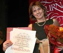 """Isabella Lövin, tilldelades Stora journalistpriset i kategorin """"Årets berättare""""."""