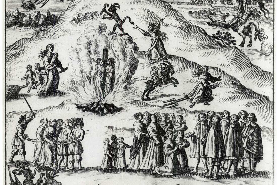 Häxprocesserna i Mora fångade i ett kopparstick från 1670.
