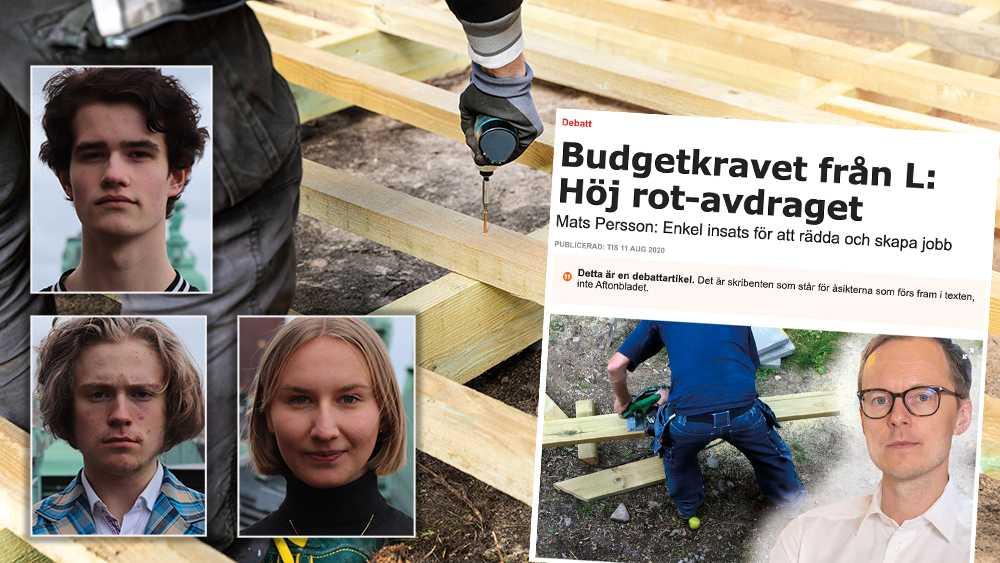 Sänkt skatt är bra men vi vill se att rot-och rutavdraget skrotas och att momsen i stället sänks på samtliga tjänster, skriver Elin Hjelmestam, Martin Norrby och Carl Sträng.