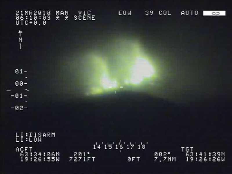 Den isländska kustbevakningens radarbilder visar vulkanutbrotten.