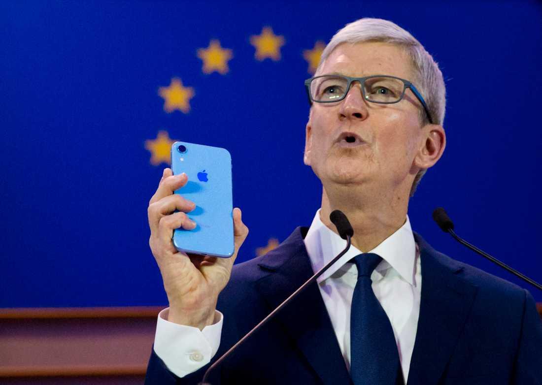 Apples vd Tim Cook på ett seminarium i Bryssel om datasäkerhet och integritet. Arkivbild.