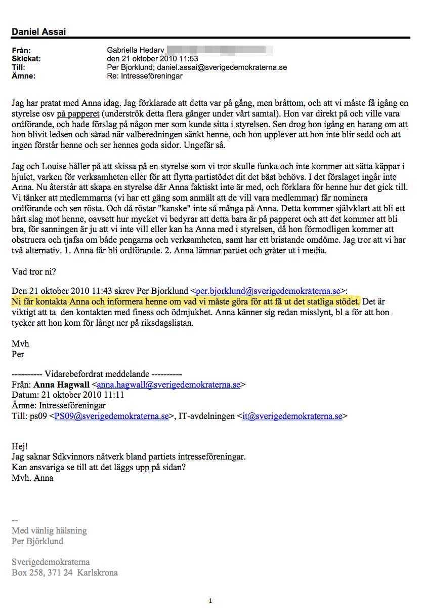 """5. Hotet Riksdagsledamoten Anna Hagwall hade under lång tid kämpat för att starta ett fungerande kvinnoförbund inom SD, men fick aldrig något gehör. När ett kvinnoförbund ändå blev aktuellt var partiet mån om att hålla henne utanför för att inte äventyra miljonbidraget. Per Björklund skriver: """"Ni får kontakta Anna och informera henne om vad vi måste göra för att få ut det statliga stödet""""."""