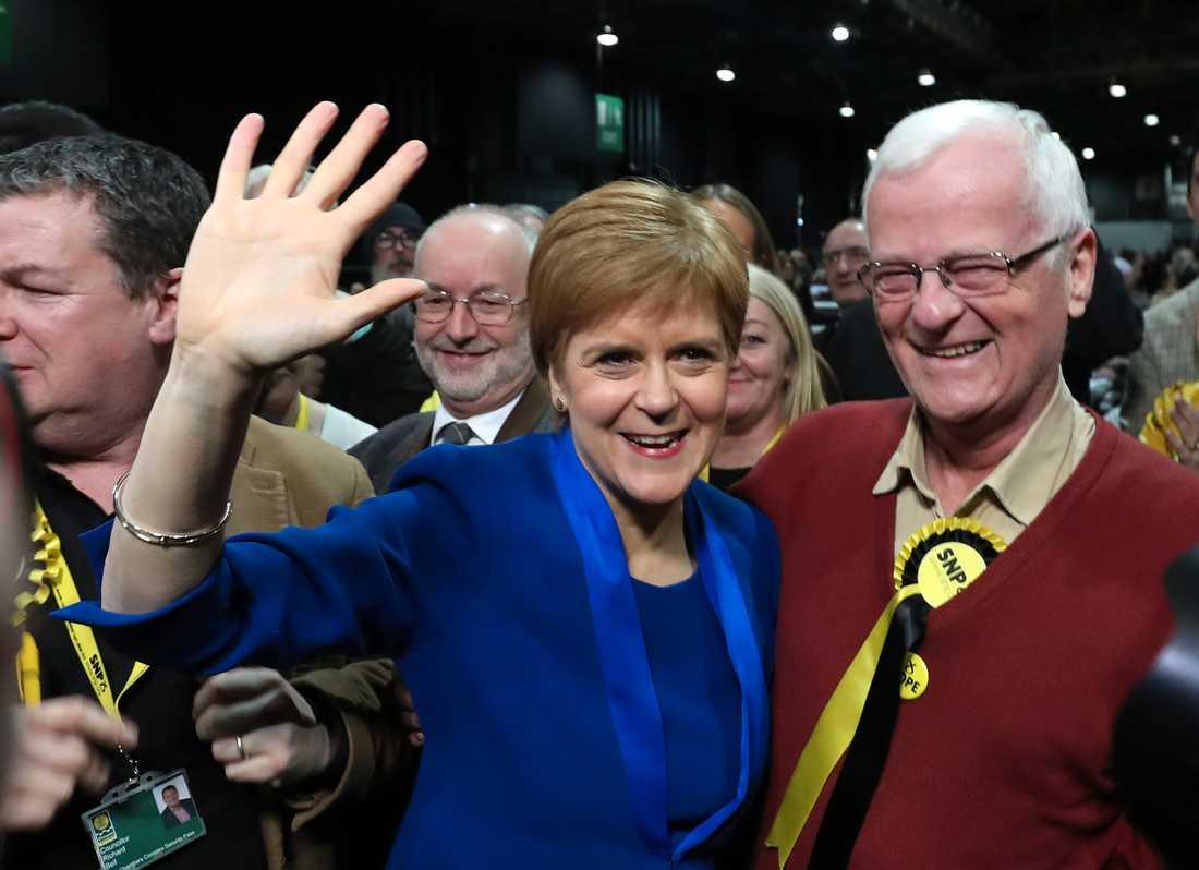 Skottlands försteminister Nicola Sturgeon är nöjd med valresultatet.