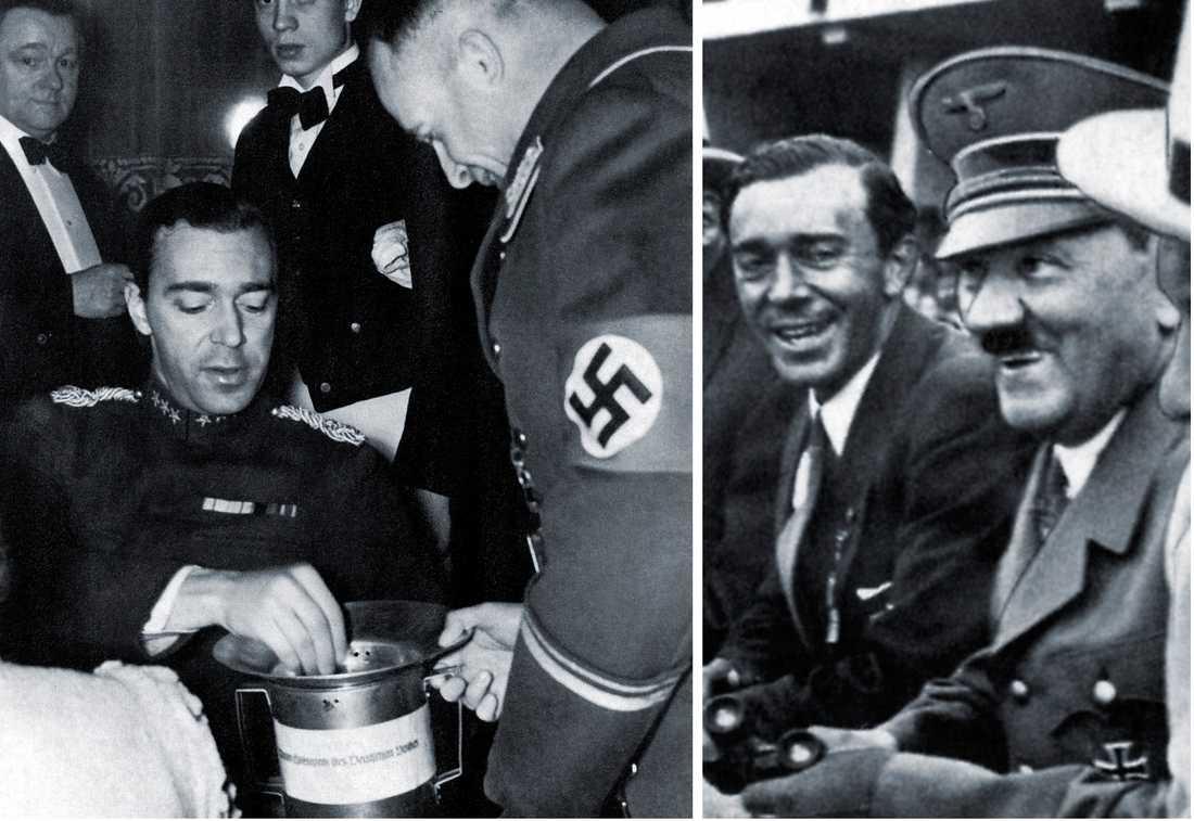NAZISYMPATISÖR Till vänster: Gustaf Adolf skänker pengar till nazisterna under kriget. Till höger: leende tillsammans med Adolf Hitler på OS i Berlin 1936.