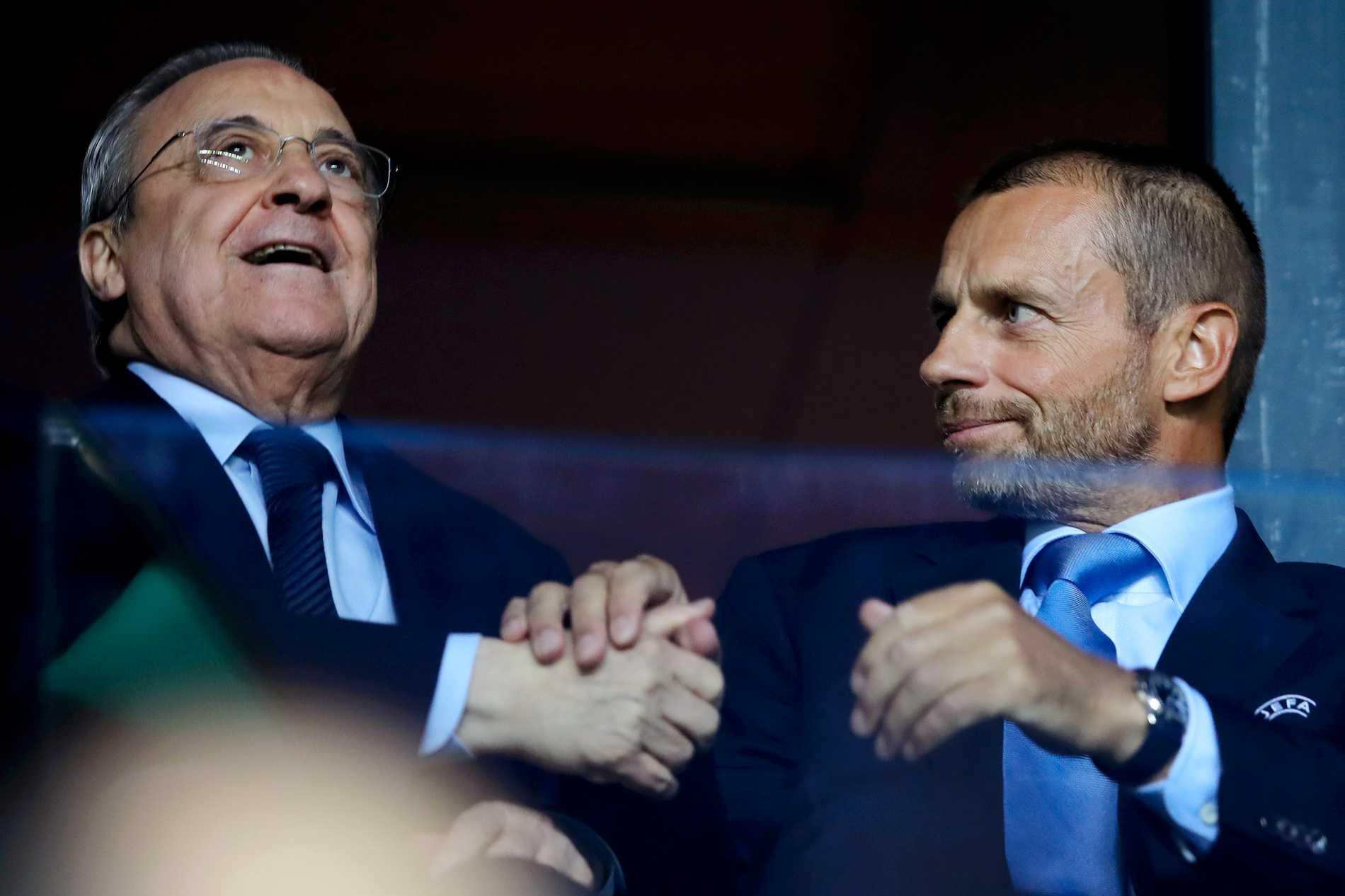 Florentino Perez och Uefas ordförande Alexander Ceferin. Arkivbild.