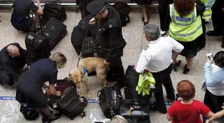 Undersöker väskor Polisen lät hundar leta igenom bagage på Glasgows flygplats.
