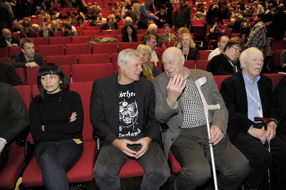 Rossanna Dinamarca, Lars Ohly, Lars Werner och CH Hermansson på Vänsterpartiets kongress 2012.