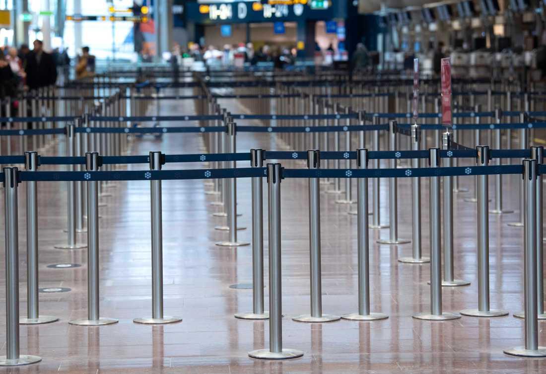 På Arlanda flygplats är det lugnare än vanligt.