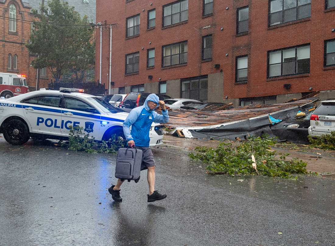 Ett tak från ett flerfamiljshus har landat på flera bilar i Halifax, Nova Scotia. Boende blev evakuerade från byggnaden.