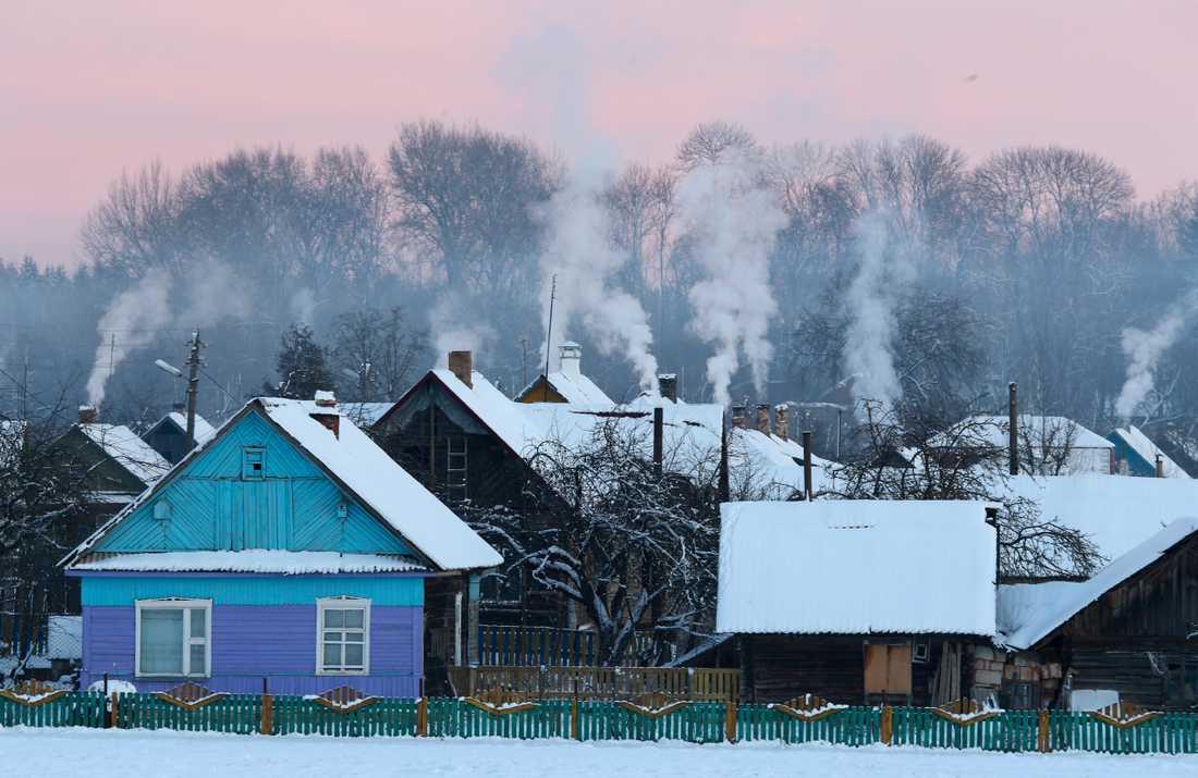 Minus 24 grader uppmättes i den här byn i Vitryssland.