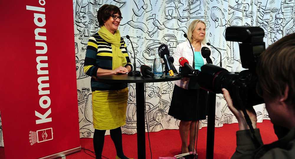Kommunals ordförande Annelie Nordström och SKL:s Ingela Gardner Sundström, ordförande i förhandlingsdelegationen.