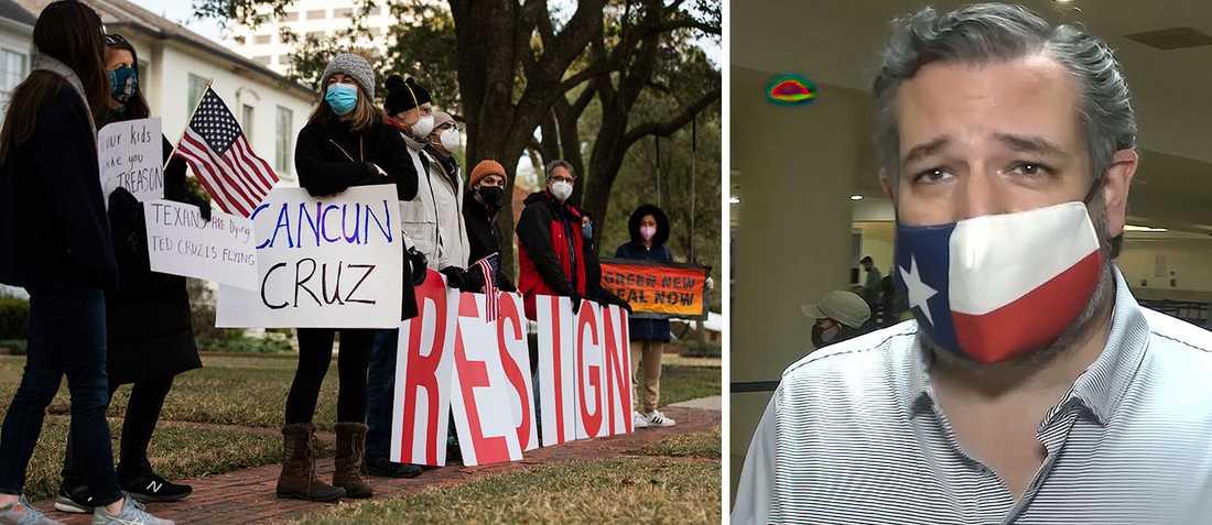 Folk demonstrerar utanför Ted Cruz hem i Houston, Texas, i torsdags. Samtidigt fångas senatorn själv på bild på Cancuns internationella flygplats – på väg att checka in på planet tillbaka till USA.