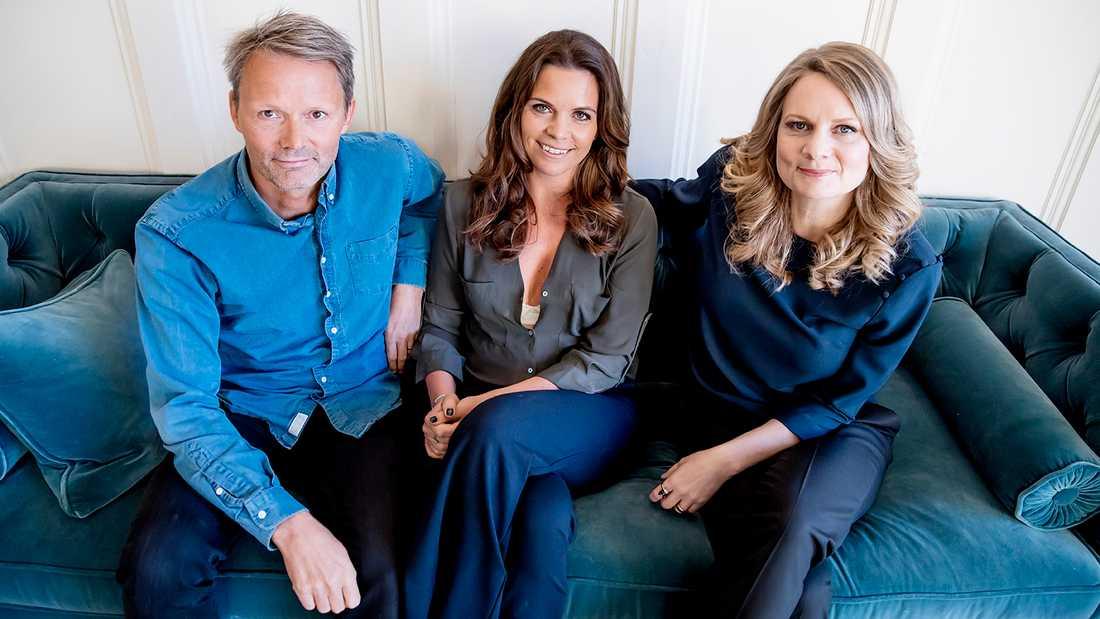 Felix Herngren med hustrun Clara Herngren och systern Moa Herngren.