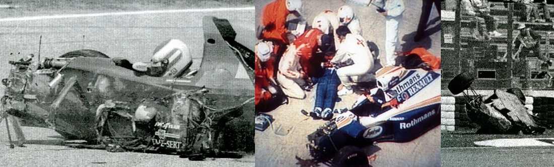 Tre dagar - tre olyckor. Det är 15 år sedan den tragiska helgen på Imola då Roland Ratzenberger (t v) och Ayrton Senna (mitten) fick sätta livet till. Rubens Barrichello (t h) klarade sin krasch med livet i behåll och kör fortfarande.