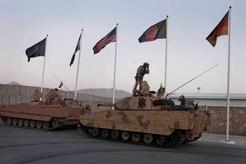 Ett antal nationer finns på plats i Mazar-e-Sharif i norra Afghanistan.
