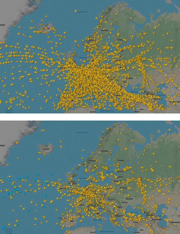Flygtrafik över Europa. Den övre bilden är från den 18 december i fjol, den nedre från den 25 mars i år.