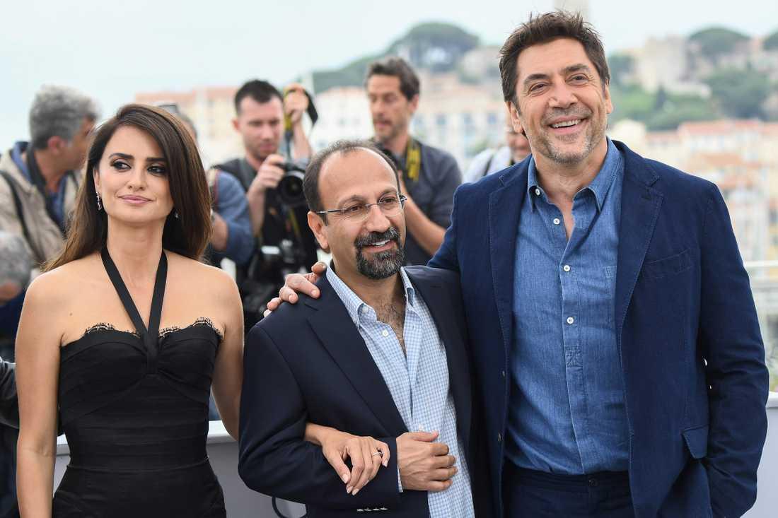Penélope Cruz, Asghar Farhadi och Javier Bardem.