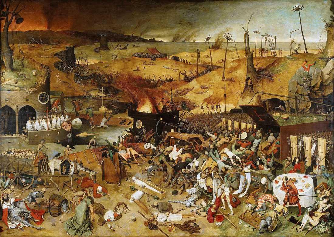 Katastrofkonst: Pieter Brughel d ä: Dödens triumf (1563), Pradomuseet i Madrid.
