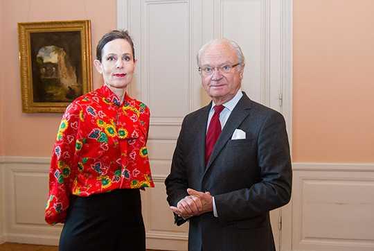 Kungen i möte med Sara Danius 2017.