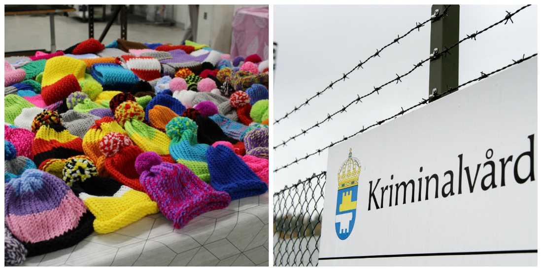 På kriminalvårdsanstalten i Gävle får de intagna lära sig att sticka mössor.