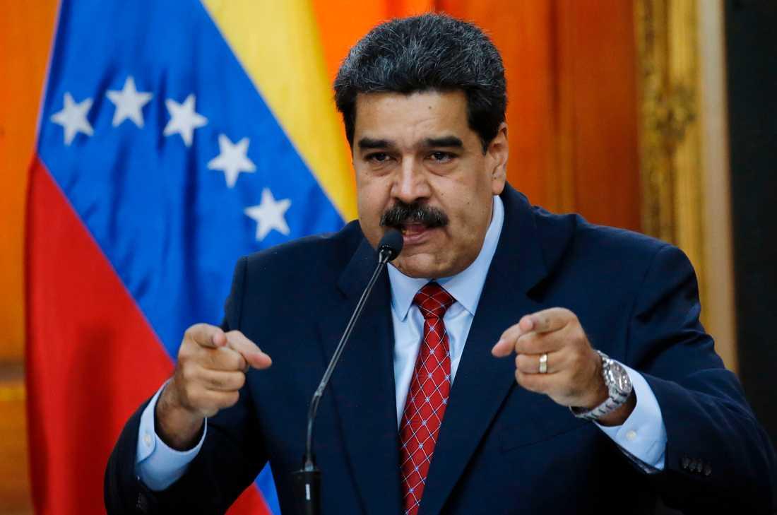 Venezuelas president Nicolás Maduro under en presskonferens i slutet av januari. Arkivbild.