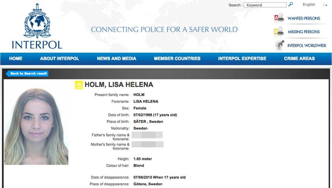 Interpols efterlysning.