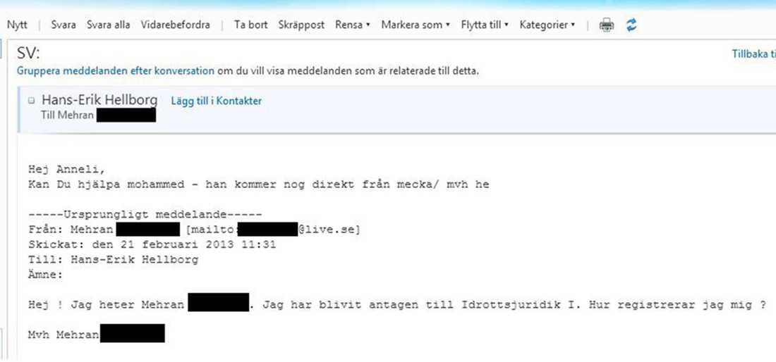 Mejlet som Hans-Erik Hellborg av misstag  skickade till Mehran.