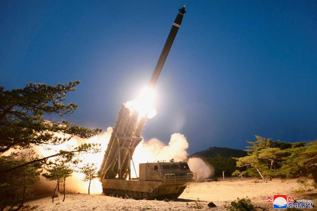 En bild tillhandahållen av Nordkoreas statliga nyhetsbyrå visar en militärövning på hemlig ort i landet den 29 mars.