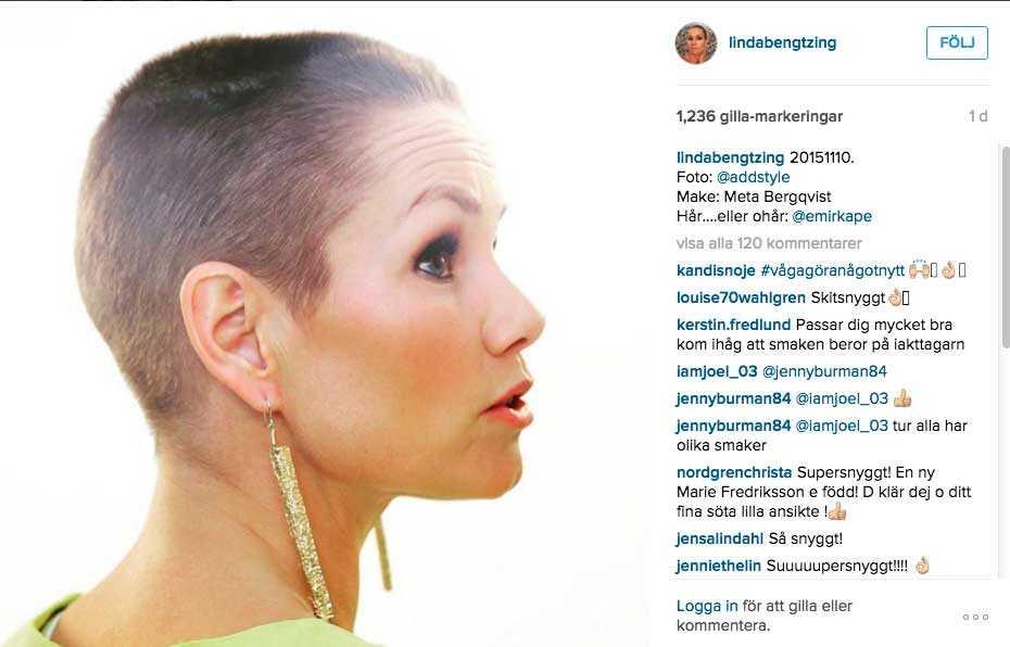 Häromdagen visade Linda Bengtzing upp en ny fräck frisyr på Instagram.