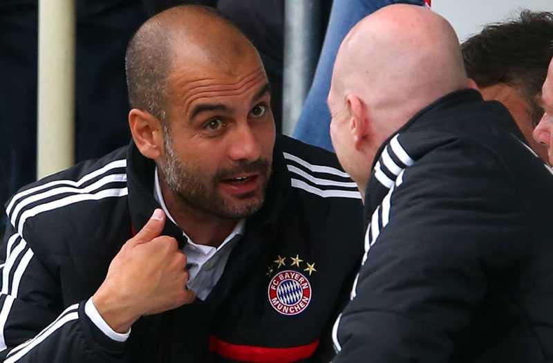 Pep Guardiola i sin första match som Bayerns tränare.