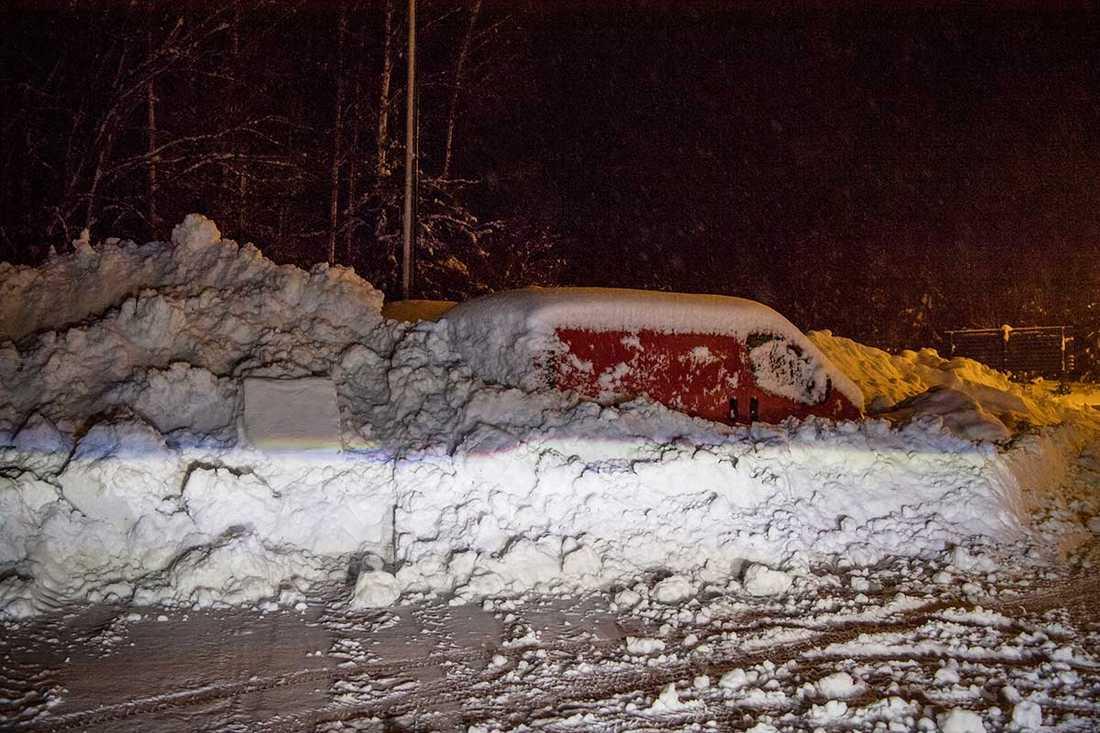 Stora snömängder i Sundsvall.