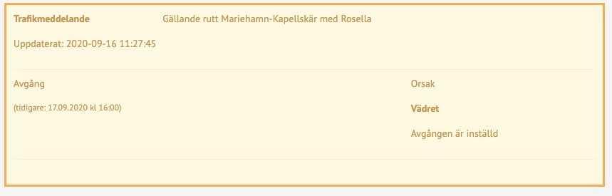 """""""Orsak: Vädret"""". Skärmdump från Viking Lines hemsida."""