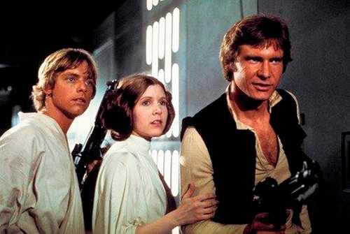 Mark Hamill som Luke Skywalker, Carrie Fisher som prinsessan Leia och Harrison Ford som Han Solo.