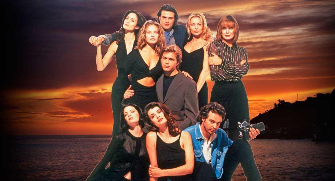 "Carrie-Anne Moss, Cassidy Rae, David Goldsmith, Kylie Travis, Linda Gray, Brian Gaskill, Teresa Hill, Stephanie Romanov och Cameron Daddo i ""Models Inc""."