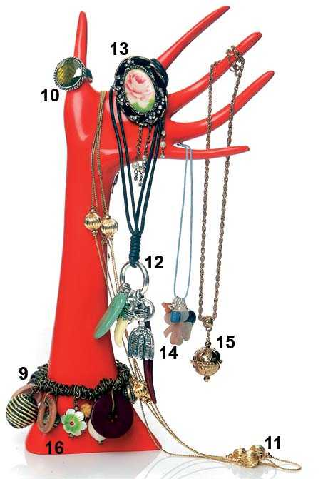 9. Armband med knappar, 49 kronor, H&M. 10. Ring, 969 kronor, Kumkum. 11. Halsband med guldfärgade kulor, 59 kronor, H&M. 12. Halsband med tand, 898 kronor, Scooter. 13. Brosch, 69 kronor, H&M. 14. Halsband med fyrklöver, 449 kronor, Jane König. 15. Halsband med kula, 75 kronor, Antikt, gammalt och nytt. 16. Hand, 198 kronor, Cocktail.