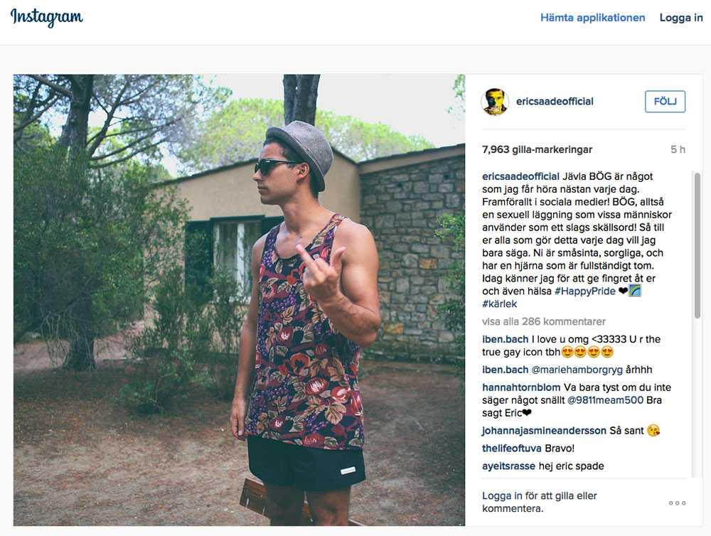 Eric Saades inlägg på instagram.